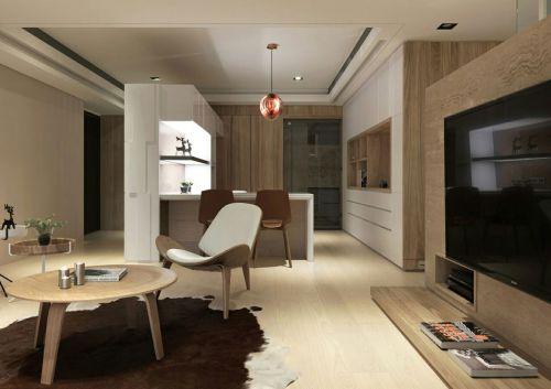 现代简约风格原木制造客厅设计效果图