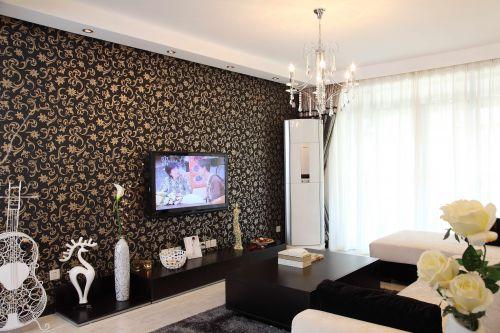二居室现代简约白色客厅吊灯灯具效果图