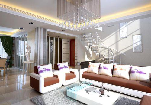 现代简约沙发时尚旋转楼梯客厅装修效果图
