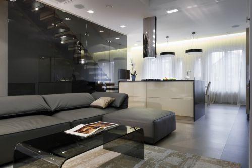 现代简约复式黑色客厅装修效果图