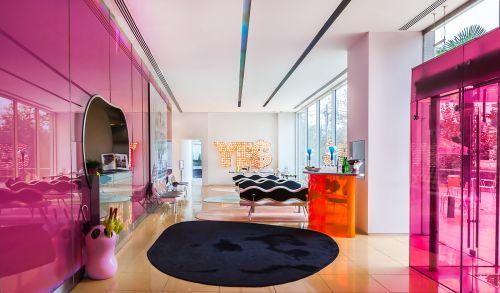 现代风粉色调客厅装修效果图