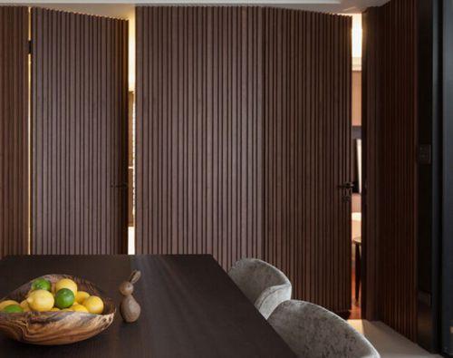 现代简约四居室咖啡色客厅隐形门效果图