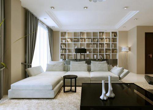 现代简约客厅书柜装修效果图