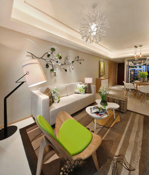 现代简约时尚米色客厅设计效果图