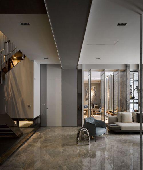 灰色现代简约大空间客厅设计效果图