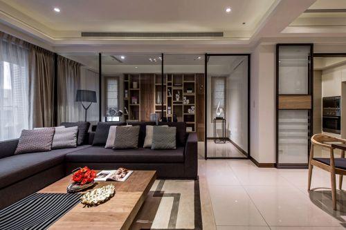 雅致时尚现代风格黑色客厅沙发装修设计
