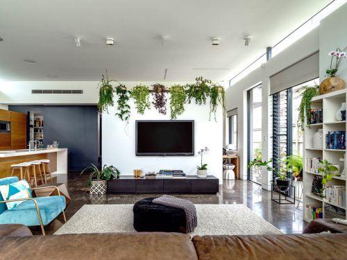 自然清新现代风格客厅装修实景图