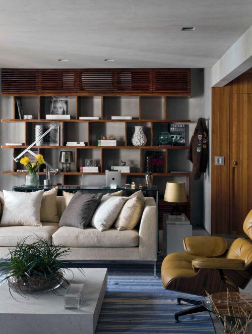 文艺书香现代风格客厅书架装修实景图