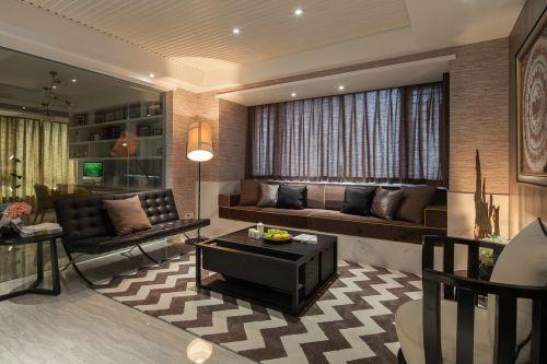 沉稳现代风格黑色系客厅装修效果图