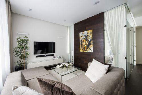 素色淡雅现代风格客厅装修图片