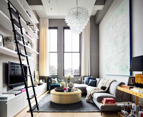 文艺书香现代风格客厅装修实景图
