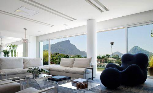 白色200平别墅现代风格客厅装修效果图