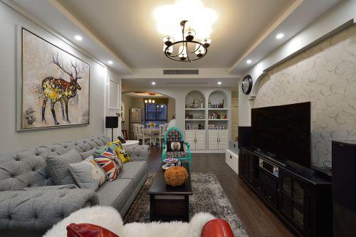气质优雅现代风格客厅背景墙装修设计