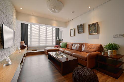咖啡色现代风格客厅沙发装修实景图