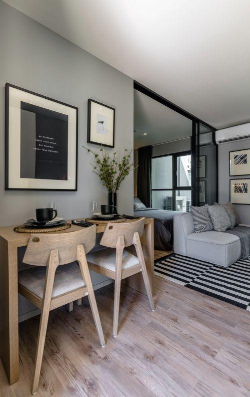 灰色调创意现代风格客厅书桌装修图片