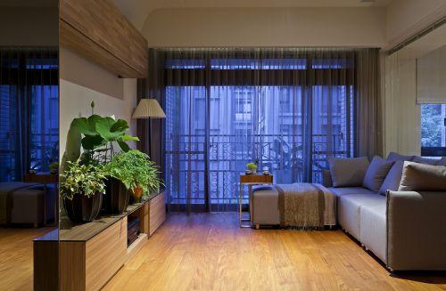 明亮现代风格客厅窗帘装修实景图