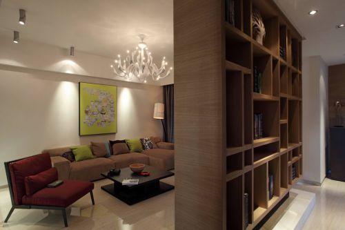 优雅现代风格客厅书架装修实景图