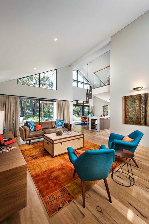 咖啡色现代风格别墅客厅装修设计