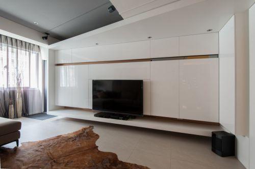 白色现代风格客厅背景墙装修设计