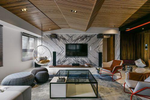 精致别墅现代风格客厅背景墙装修设计
