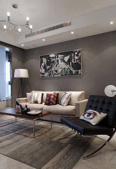 时尚现代风格客厅灰色质感背景墙效果图