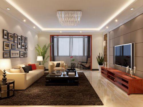 现代简约四居室客厅背景墙装修效果图欣赏