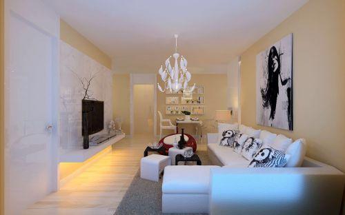 现代简约二居室客厅照片墙装修效果图大全
