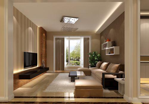 现代简约三居室客厅背景墙装修效果图