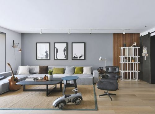 现代简约三居室客厅照片墙装修效果图大全
