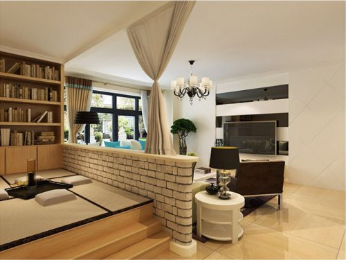 现代简约二居室客厅影视墙装修效果图大全