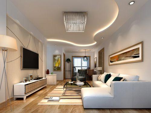 现代简约二居室客厅吊顶装修图片
