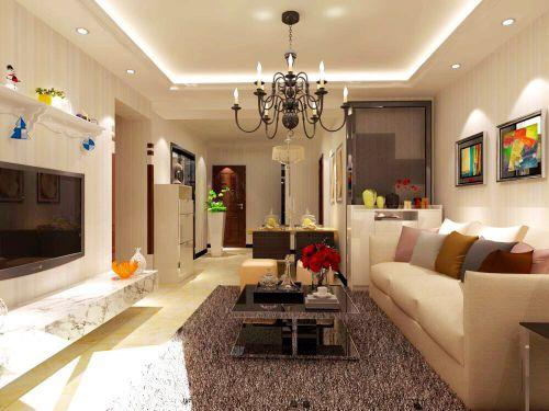现代简约二居室客厅吊顶装修效果图欣赏