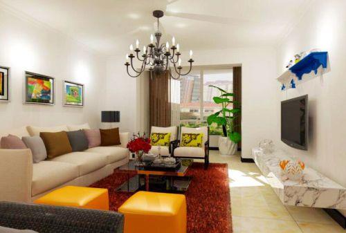 现代简约二居室客厅照片墙装修效果图欣赏