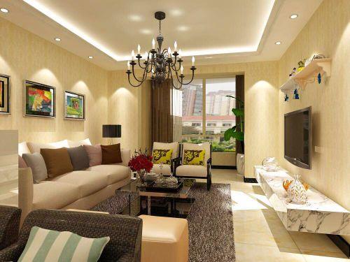 现代简约二居室客厅背景墙装修效果图