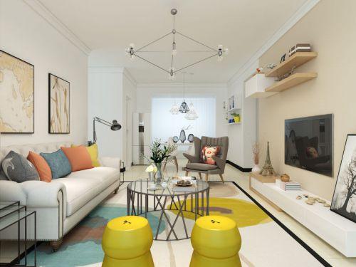 现代简约二居室客厅照片墙装修效果图