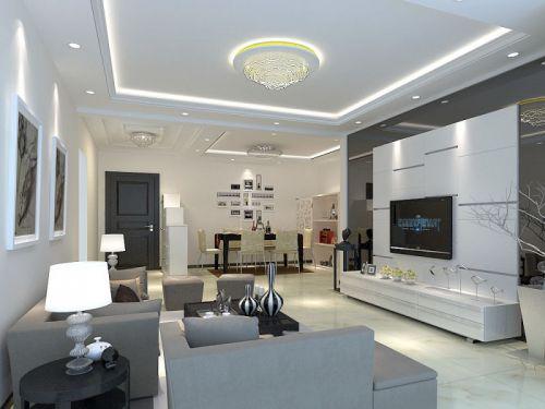 现代简约三居室客厅电视柜装修效果图欣赏