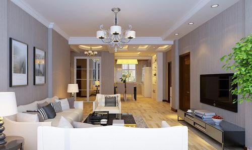 现代简约三居室客厅吊顶装修效果图大全