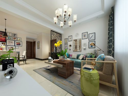 现代简约三居室客厅照片墙装修效果图欣赏