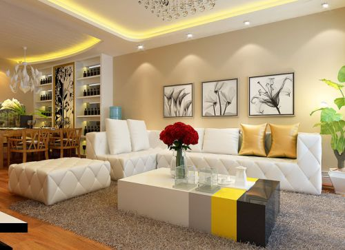 现代简约三居室客厅吊顶装修效果图欣赏