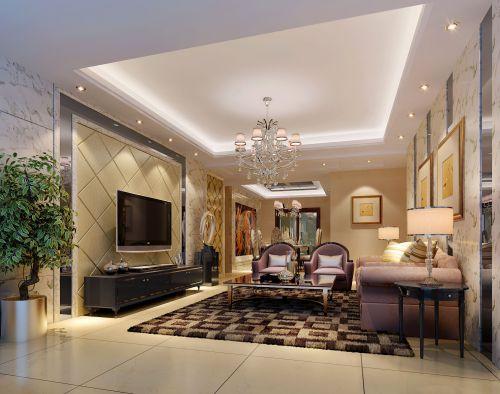 精致华贵现代简约风格客厅背景墙实景图