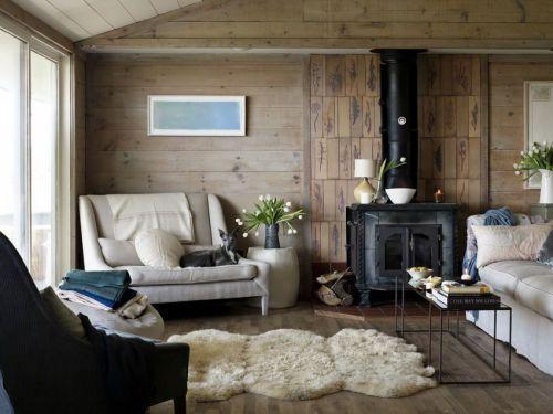 温馨简欧风格客厅暖意壁炉装修实景图