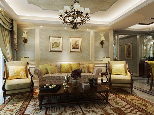 简欧风格三居室客厅沙发背景墙壁纸装修图片