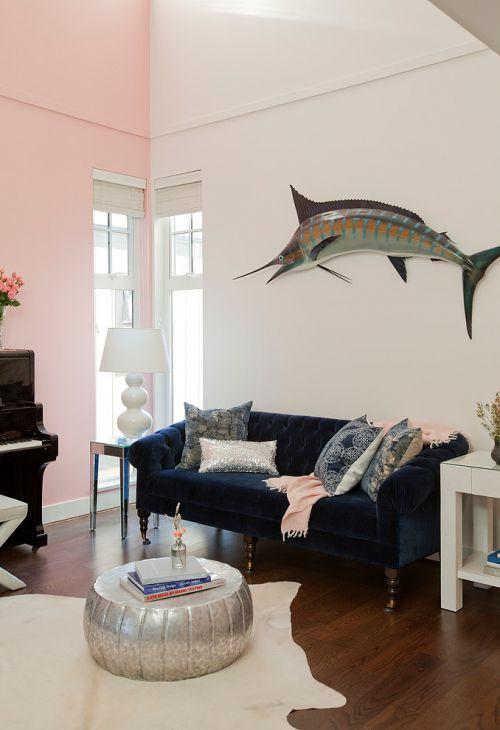 简欧风格粉色客厅装修效果图