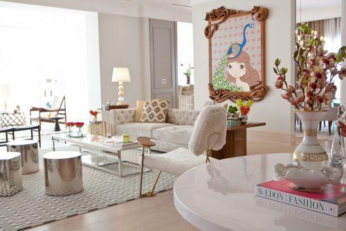 清新优雅简欧风格客厅装修实景图