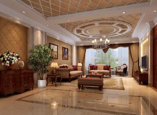 简欧风格四居室客厅影视墙装修效果图大全