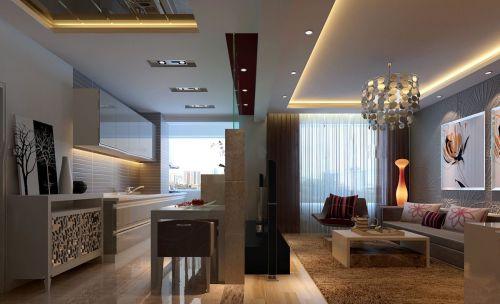 简欧风格客厅一室一厅小户型装修图片