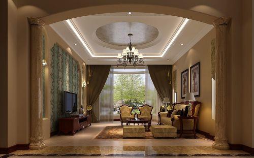 简欧风格三居室客厅吊顶装修效果图大全
