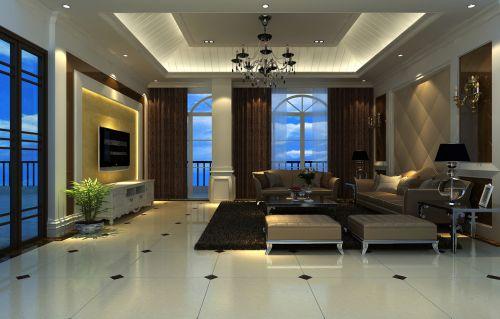 简欧大阳台客厅精致沙发吊灯窗帘装修设计