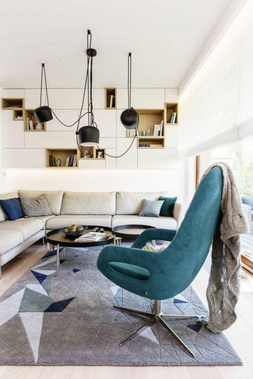休闲简欧风格客厅蓝色沙发椅装修图片
