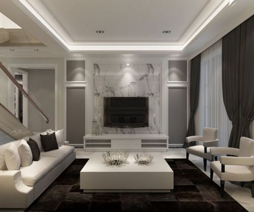 简欧风格五居室客厅组合柜装修效果图欣赏